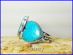 Bracelet (B291) Buffalo Dancer Sleeping Beauty Turquoise Heart Cuff