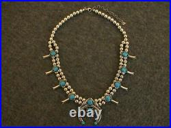 CAROLYN POLLACK. 925 SLEEPING BEAUTY TURQUOISE SQUASH BLOSSOM NECKLACE AW 97g
