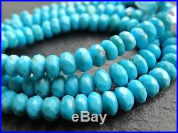CUT NATURAL SLEEPING BEAUTY TURQUOISE RONDELLES, 4mm 6.8mm, 15, 120 beads