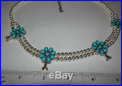Carolyn Pollack American West Sleeping Beauty Squash Blossom Sterling Necklace
