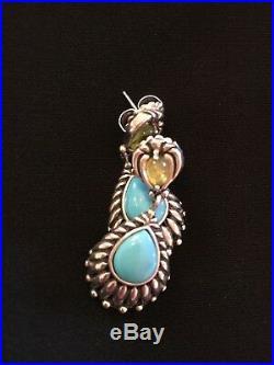 Carolyn Pollack Relios Sleeping Beauty Turquoise & Peridot Drop Earrings. 925