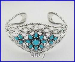 Carolyn Pollack Sleeping Beauty Turquoise Filigree Cuff in Sterling Silver