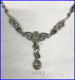 Carolyn Pollack Sleeping Beauty Turquoise Sterling Silver Necklace and Enhancer