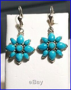 Carolyn Pollack Southwestern sterling silver Sleeping beauty turquoise earrings