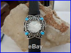 Carolyn Pollack Sterling Southwest Sleeping Beauty Turquoise LEATHER Watch