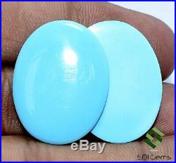 Certified Natural Sleeping Beauty Turquoise Oval Cabs Pair 26x20 mm Loose Gems