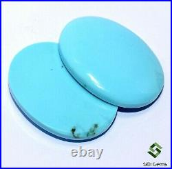 Certified Natural Turquoise Sleeping Beauty Oval Cabochon Pair 30x23 mm Gemstone