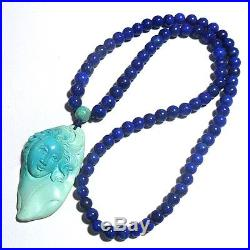 Certified UnStabilized 367ct SLEEPING BEAUTY TURQUOISE Lapis Lazuli 24 Necklace