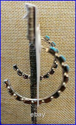 Chaco Canyon Zuni Sleeping Beauty Turquoise Crescent Hoop Pierced Earrings NWT