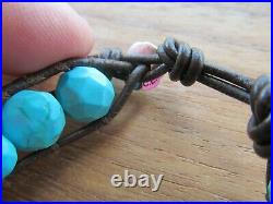 Chan Luu Genuine Natural Sleeping Beauty Turquoise Faceted Beads Wrap Bracelet