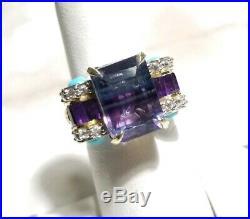 Chuck Clemency NYCII Sterling silver Bi Fluorite Sleeping Beauty turquoise Ring