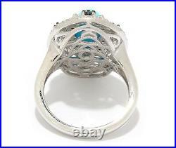 Chuck Clemency Sleeping Beauty Turquoise, Blue Diamond & White Zircon Ring 8