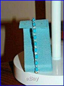 Chuck Clemency Sleeping Beauty Turquoise Blue Topaz Tennis Bracelet 7.75 Evine