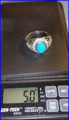 Chuck clemency NYCII sterling silver cabochon Sleeping Beauty Turquoise ring 10