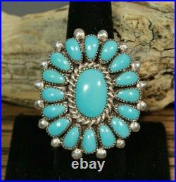 Cluster Ring Sleeping Beauty Turquoise Sterling Zuni artist Lorraine Waatsa 8.5