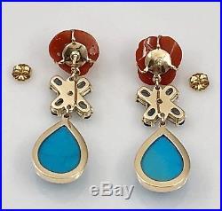 Coral Rose, Sleeping Beauty Turquoise, Blue Topaz & Diamond 14K Gold Earrings