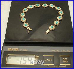 Cute Sleeping Beauty Turquoise Gemstone Tennis Bracelet Real 14K Yellow Gold QVC