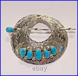 DC Thomas 925 Silver Native American Sleeping Beauty Turquoise Hair Barrette Bun