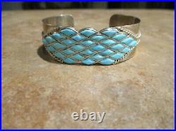 DYNAMITE Vintage Zuni Sterling Silver Inlay Sleeping Beauty Turquoise Bracelet