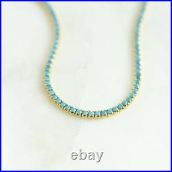 Dainty Beauty Turquoise 14K Yellow Gold Over Tennis 7.25 Bracelet Gift For Her