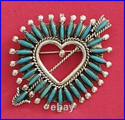 Dan Estate Zuni Turquois Needlepoint Heart Arrow Pendant/pin Signed. A Beauty