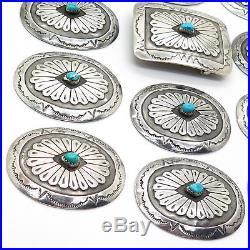 Dan Whitegoat Navajo 925 Sterling Silver Sleeping Beauty Turquoise Belt Set