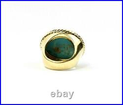 David Yurman 18K Yellow Gold Sleeping Beauty Turquoise Cabochon Ring Sz 5 23.7g
