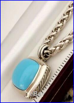 David Yurman Sleeping Beauty Turquoise Albion Pendant 14k Silver Wheat Chain 16