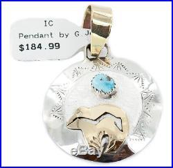 Delicate 12k GF & Silver Bear Handmade Navajo Sleeping Beauty Turquoise Pendant