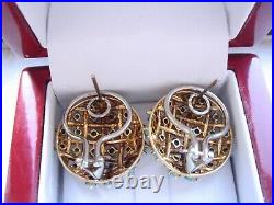 Designer 18k Yellow Gold Natural Sleeping Beauty Turquoise Earrings 15.3gr