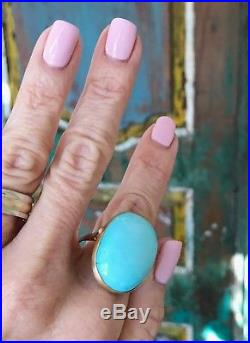 Designer 33 Carats Sleeping Beauty Turquoise Ring 18K Gold one of a kind