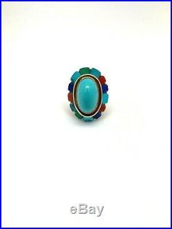 Designer Marshall 14K Gold Sleeping Beauty Turquoise Coral Lapis Malachite Ring
