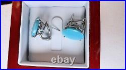 Designer Platinum 100% Natural Sleeping Beauty Turquoise Earrings 8.2gr