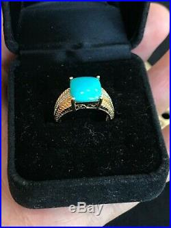 Designer STS 14k Yellow Gold Sleeping Beauty Turquoise and Diamond Ring Size 6