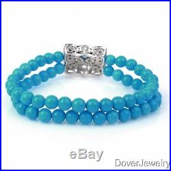 Diamond Topaz Sleeping Beauty Turquoise Silver Bracelet 21.4 Grams NR