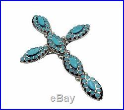 Dishta, Pendant, Sleeping Beauty Turquoise, Cross, Signed, Zuni Handmade, 3.5