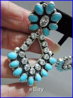 Don Lucas Southwest Glam A+++++ CZ/Sleeping Beauty Turquoise 925 Earrings 21/2