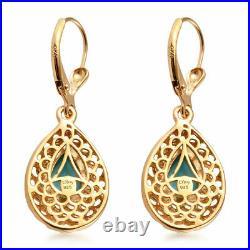 Drop Dangle Earrings 925 Sterling Silver Sleeping Beauty Turquoise Gift Ct 2.1