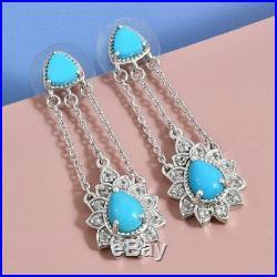 Drop Dangle Earrings 925 Sterling Silver Sleeping Beauty Turquoise Gift Ct 4.2