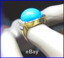 Elegant Antique Retro Huge Sleeping Beauty Estate Turquoise Diamond Gold Ring