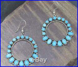Emma Lincoln Rip Navajo Sleeping Beauty Turquoise Dangle Hoops Sterling Silver