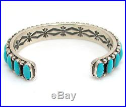 ERNEST ROY BEGAY Navajo 925 Sterling Sleeping Beauty Turquoise Cuff Bracelet G