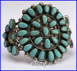 Early Navajo Petit Point Sleeping Beauty Turquoise Sterling Silver Bracelet Cuff