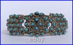Early Navajo Petit Point Sleeping Beauty Turquoise Sterling Silver Cuff Bracelet