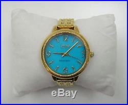 Ecclissi Gold Tone Sterling Silver Turquoise Dial Sleeping Beauty Watch