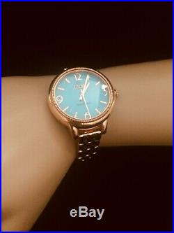 Ecclissi Watch Sterling Silver Turquoise Sleeping Beauty 14 K Rose Gold Plated