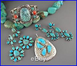 Effie SLEEPING BEAUTY Turquoise ZUNI Unisex CAST Sterling Silver SNAKE Pendant