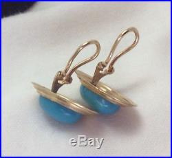 Elegant 14k Diamond Cut Yellow Gold And Sleeping Beauty Turquoise Clip Earrings