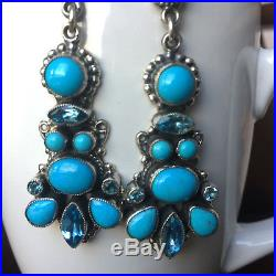 Elegant Gala Earrings Blue Topaz and Sleeping Beauty Handmade By Leo Feeney