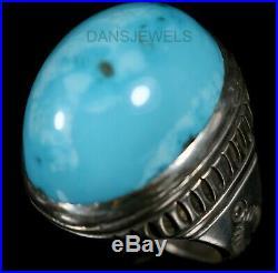 Ernest Bilagody Handmade NAVAJO Sleeping Beauty Turquoise Men's Ring SZ 12